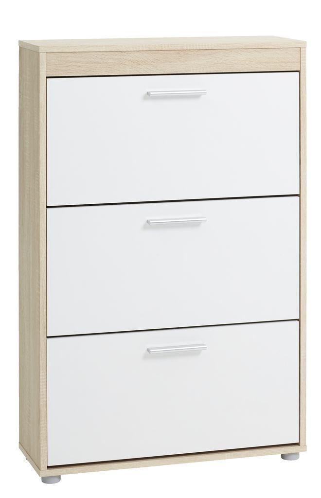 Шкаф для обуви белый с 3-мя отделениями, фото 1