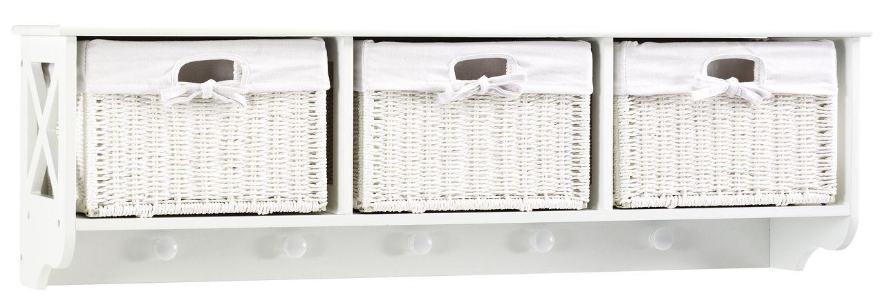 Полка настенная белая + 5 вешалок для верхней одежды