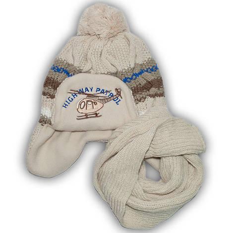 Комплект (шапка + шарф) Польского производителя Ambra с подкладкой флис, модель H44