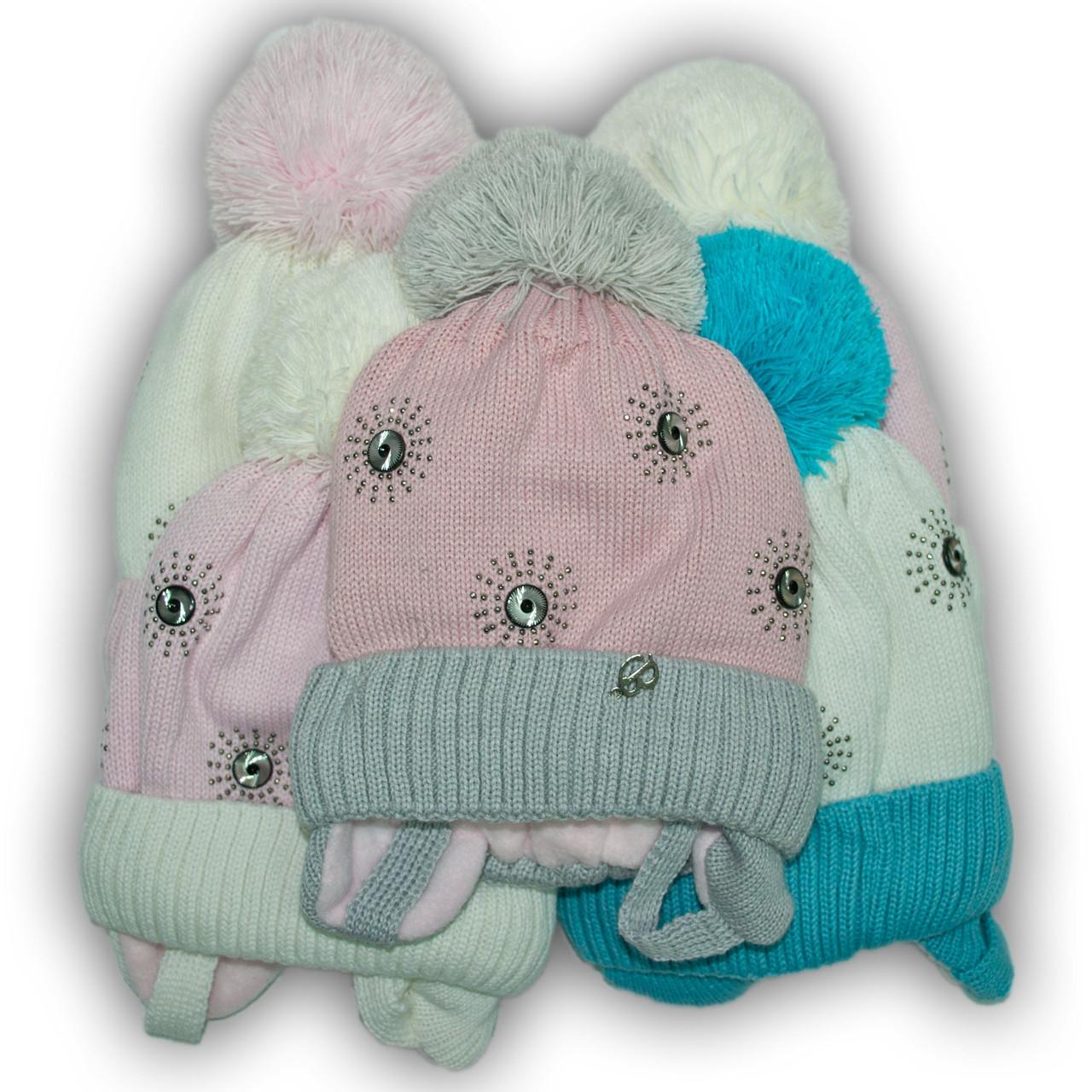 Шапка для девочек, Польского производителя Barbaras, подкладка хлопок, помпон акрил, модель R16/AP