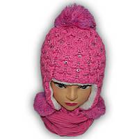 Комплект (шапка + шарф) Польского производителя Ambra с подкладкой искуственный мех, модель S20