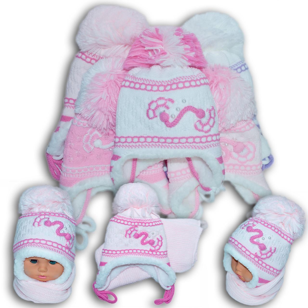 Комплект (шапка + шарф) для девочек, Польского производителя Toms, модель TS 18