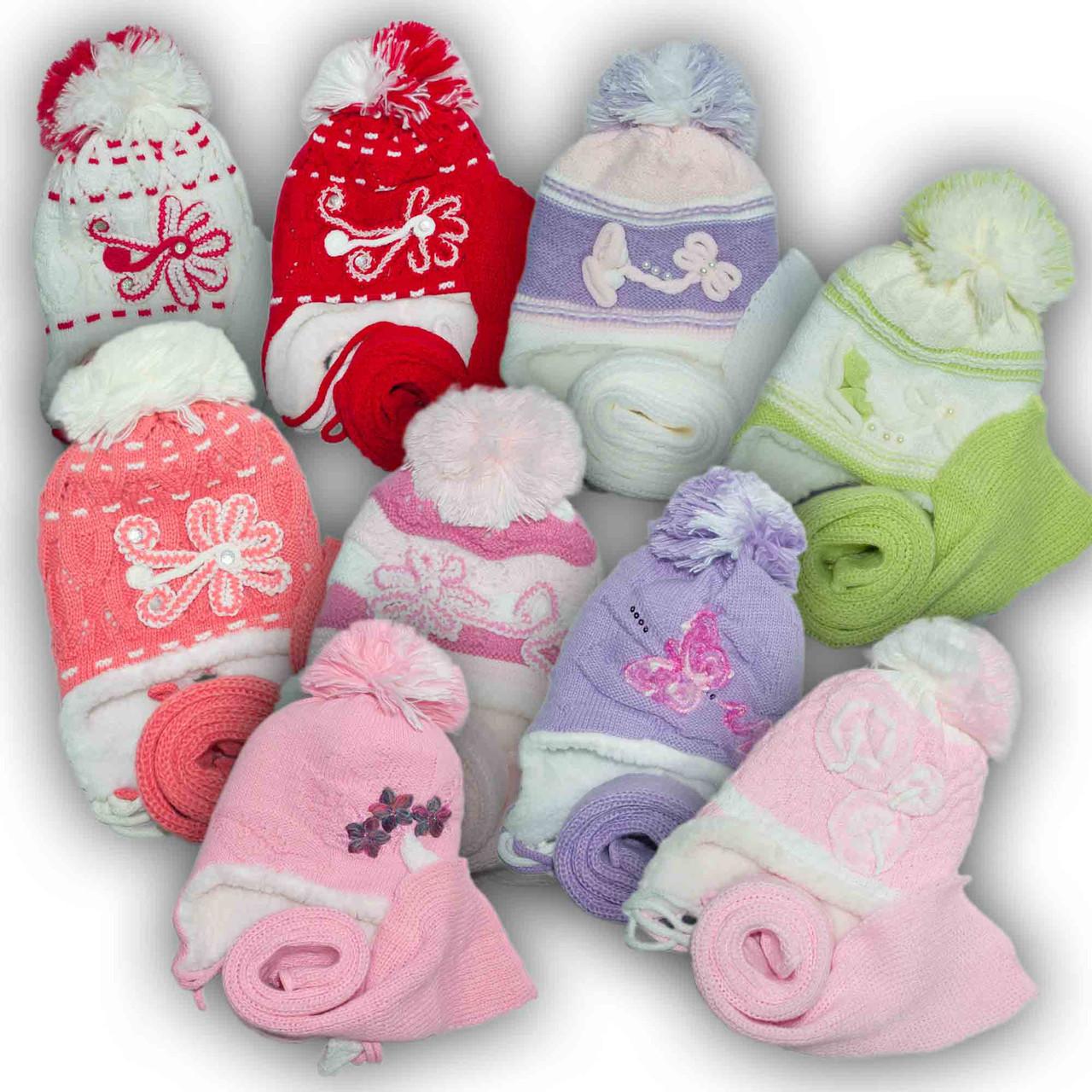 Комплект (шапка + шарф) для девочек, Польского производителя Toms, модель TS MIX