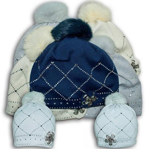 Шапка для девочек, Польского производителя Barbaras, подкладка ISO SOFT, помпон из натурального меха кролика,