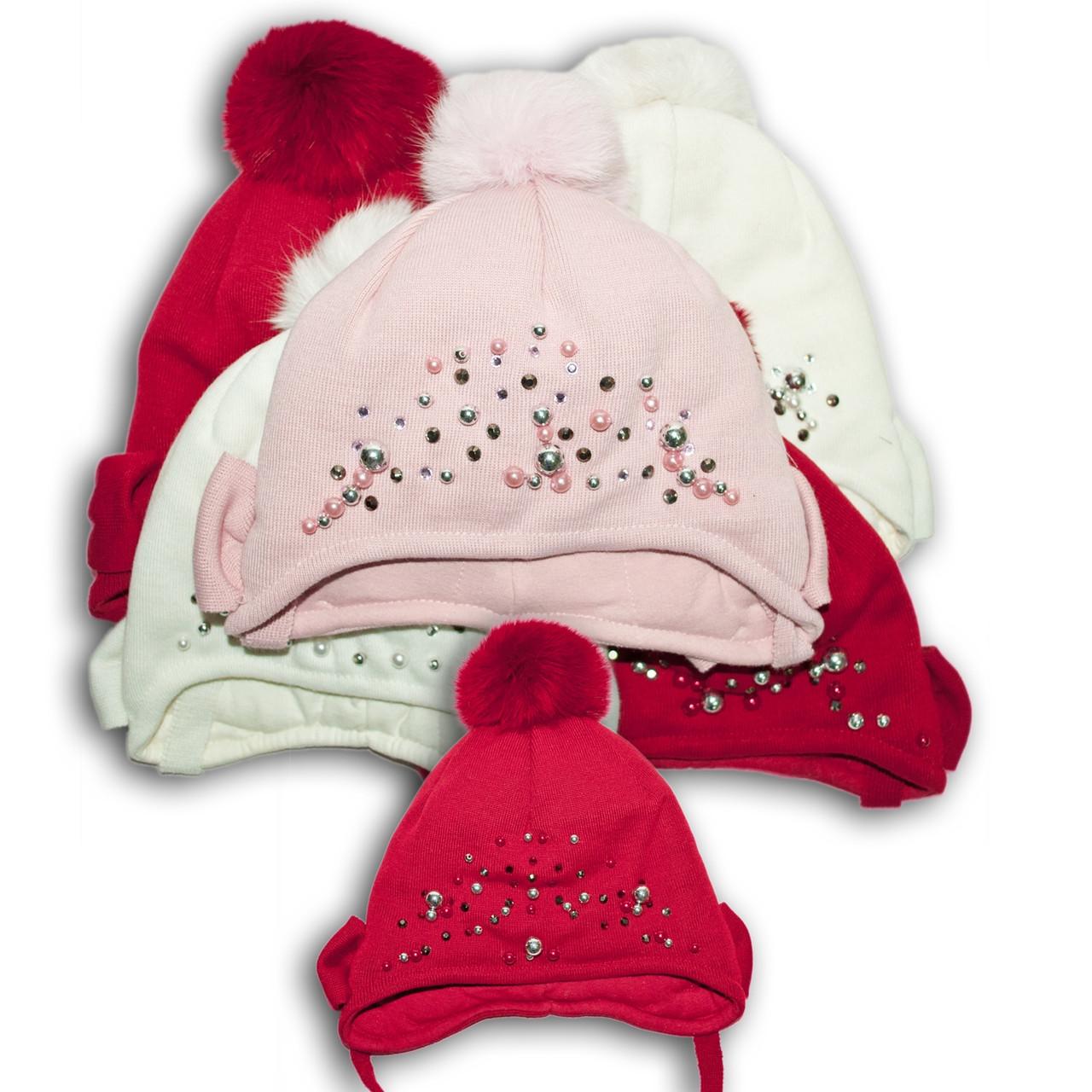 Шапка для девочек, Польского производителя Barbaras, подкладка флис, помпон натуральный мех кролик, модель WD5
