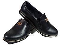 Туфли женские комфорт натуральная кожа черные на резинке (СЛ 15)