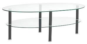 Столик стеклянный кофейный с стеклянной полкой 60х120см