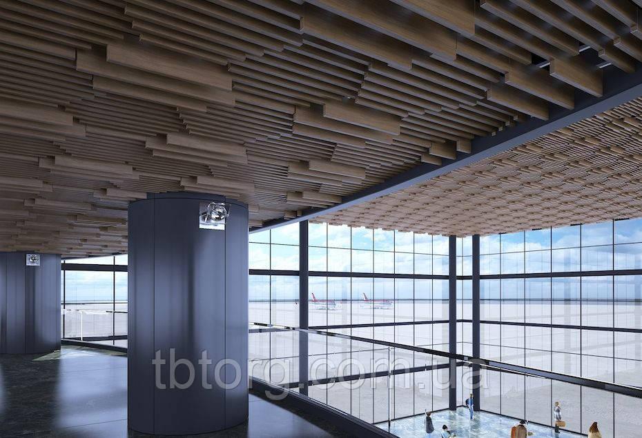 Кубообразный, навесной потолок реечный