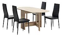 Комлект кухонный ( стол раскладной 80х36/163 см + 4 стула черные) светлый