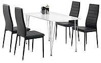 Комплект кухонный мебели ( стол белый + 4 стула черный), фото 1