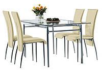 Комлект кухонный ( стол стеклянный + 4 стула бежевые)