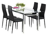 Комплект кухонный мебели ( стол стеклянный 160 см + 4 стула черные)
