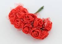 Розочки латексные мини с органзой ( 12 шт.), красные