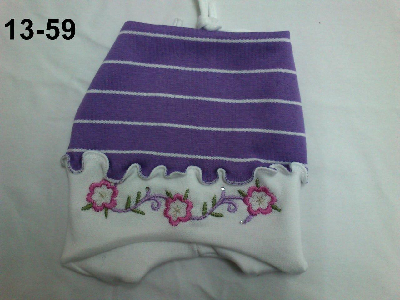 Шапочка для девочек из хлопка с вышивкой, модель 13-59