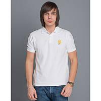 Мужская патриотическая футболка-поло «Тризуб» (белая)