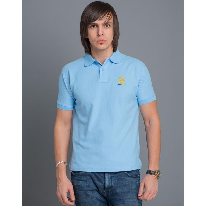 Мужская патриотическая футболка-поло «Тризуб» (голубая) купить ... 5abeeeb6ad2a0
