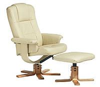 Кресло кремое из искусственной кожи + стульчик для ног