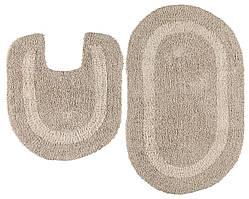 Набор мягких ковриков в ванную комнату бежевые