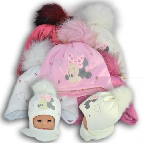 ОПТ Комплект (шапка + шарф) Польского производителя Ambra с подкладкой ISO SOFT, модель А53 (5шт/набор)