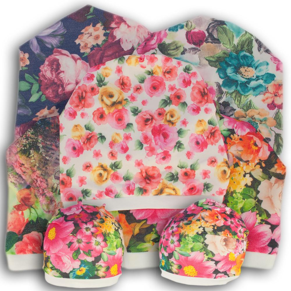 Шапочка с цветами из хлопка, модель Y8