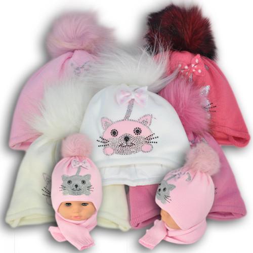 ОПТ Комплект (шапка + шарф) Польского производителя Ambra с подкладкой ISO SOFT, A9 (5шт/набор)