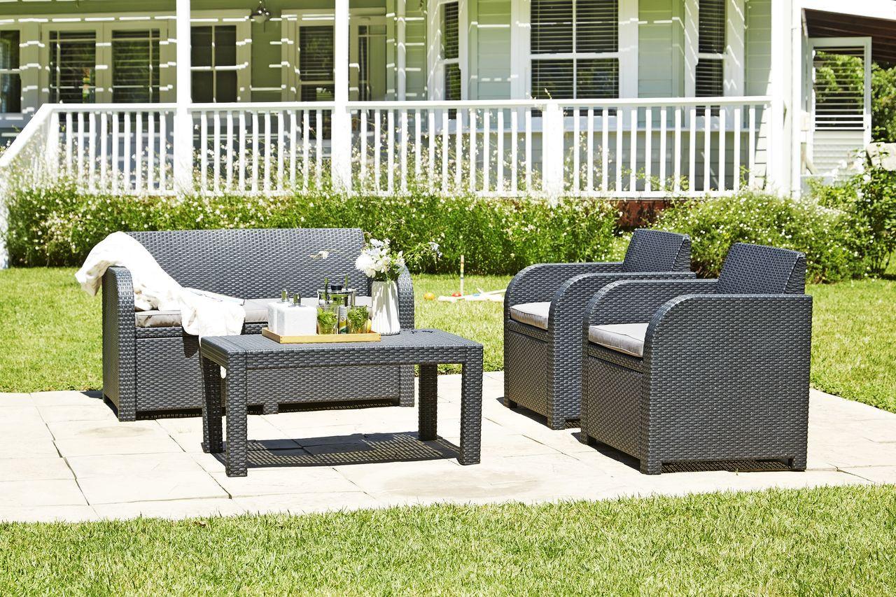 Комплект садовой мебели  пластик серый (2 кресла + столик + 2-х местный диван)