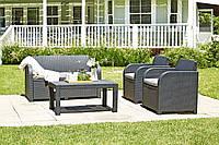Комплект садовой мебели  пластик серый (2 кресла + столик + 2-х местный диван), фото 1