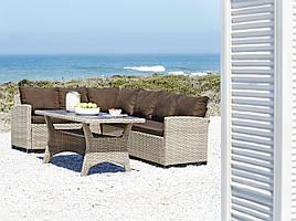 Комплект мягкой угловой садовой мебели сталь/петан (угловой диван + столик)