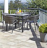 Комплект мягкой садовой мебели (4 стула со спинкой  + стол из стали)