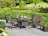 Комплект плетеной садовой мебели (4 стула со спинками  + стол из артвуда (искуственное дерево))