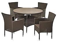 Комплект плетеной садовой мебели (4 стула из иск. ротанга со спинками  + стол 120 см круглый из иск. дерева)