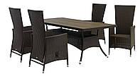 Комплект плетеной садовой мебели (4 стула из иск. ротанга споворотными спинками  + стол 98х200 см)