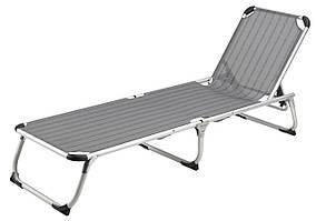Шезлонг лежак садовый серый  58х195см алюминий текстилен