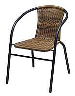 Садовый стул со спинкой металлический  и искусственного ротанга, фото 1