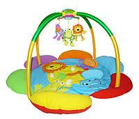"""Музыкальный коврик-цветок с мобилем и подсветкой """"Друзья Джунглей"""" Biba Toys"""