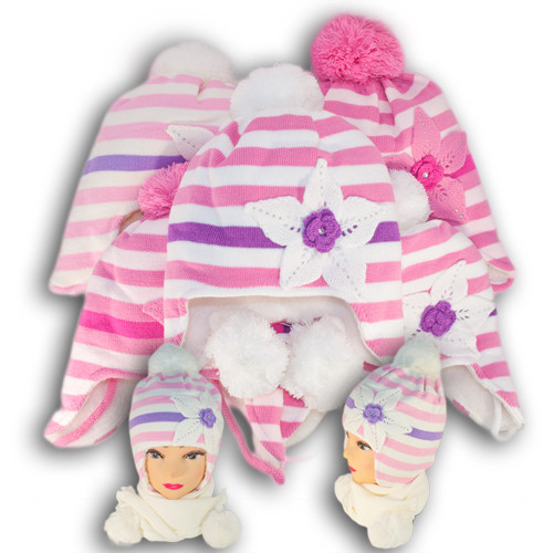 Комплект (шапка + шарф) для девочки, Польского производителя Ambra, модель Аm6