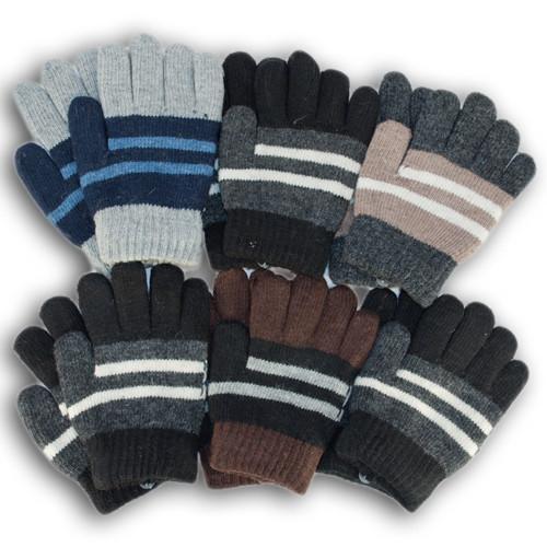 Детские перчатки из шерсти для мальчиков, двойная вязка
