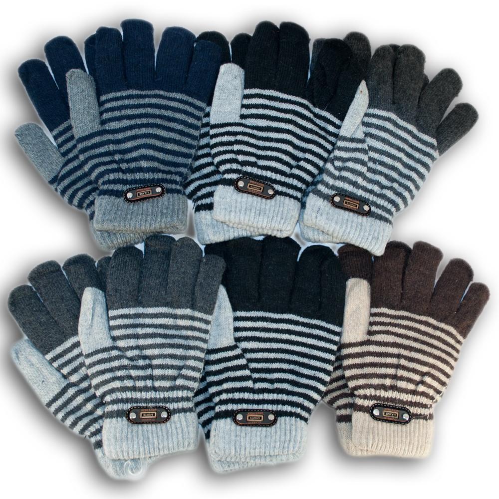 Детские перчатки из шерсти, для мальчиков, двойная вязка
