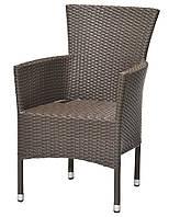 Садовое кресло коричневое стальной и искусственного ротанга