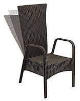 Садовое кресло коричневое с подвижной спинкой 55х63 см, высота 110 см