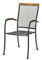 Садовое кресло стальное с подлокотниками из хардвуда
