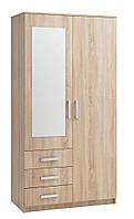 Шкаф 2-х дверный + 3 ящика с зеркалом (цвет дуб) 100х58 см