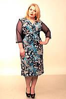 Платье женское батал Диана-запах (голубые цветы)52-58, фото 1