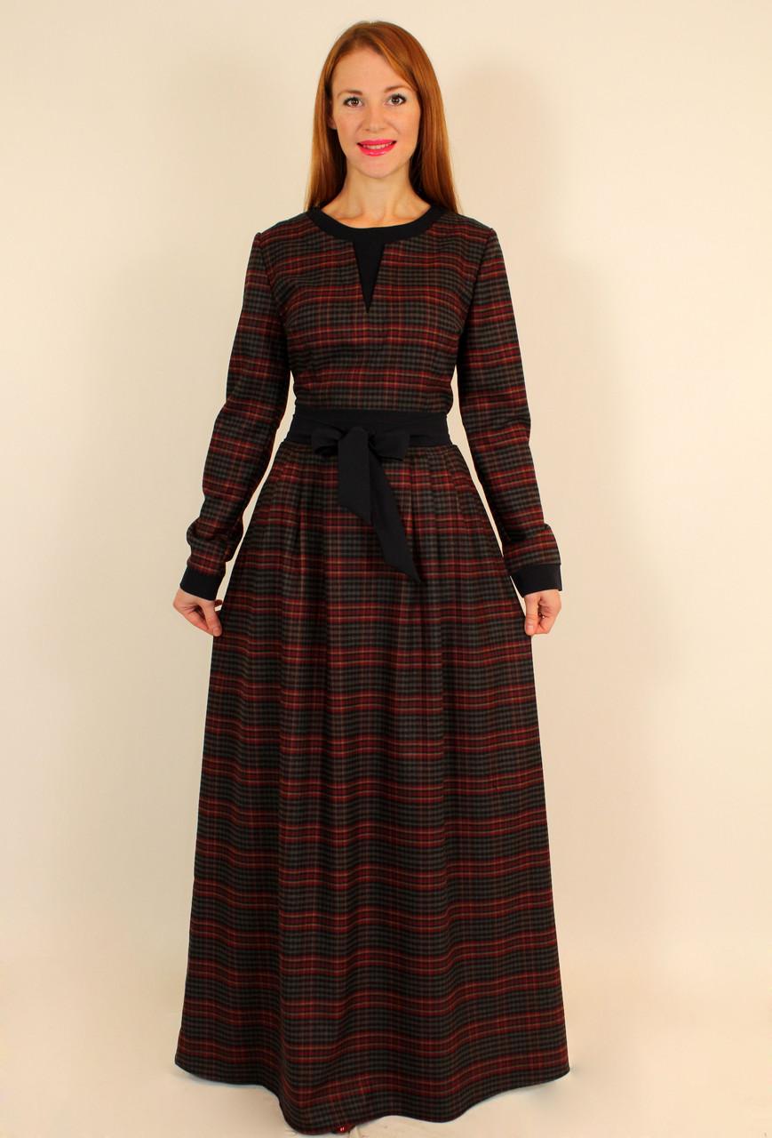 Теплое стильное платье в клетку с длинным рукавом 46 р