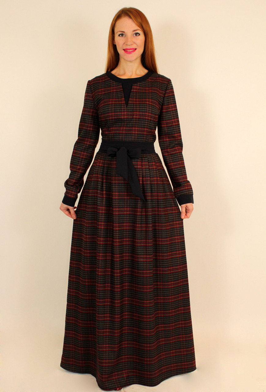 525620acd3d Теплое стильное платье в клетку с длинным рукавом 46 р - Оптовый интернет-магазин  по