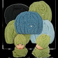 Комплект шапочка и шарф, двойная вязка, производитель Польша