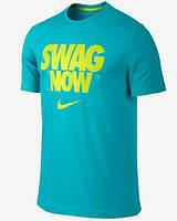 Стильная мужская футболка бирюзовая Nike Swag Now