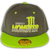 """Кепка реперка с прямым козырьком """"Monster energy"""""""