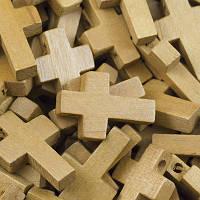 Кулон Деревянный Крест, Цвет: Бежевый, Размер: 22х14х4мм, Отв-тие 2мм, (УТ0027809)