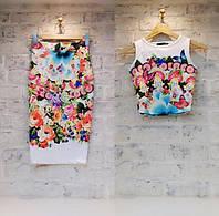 Молодёжный костюм топ с юбкой с изображением цветов